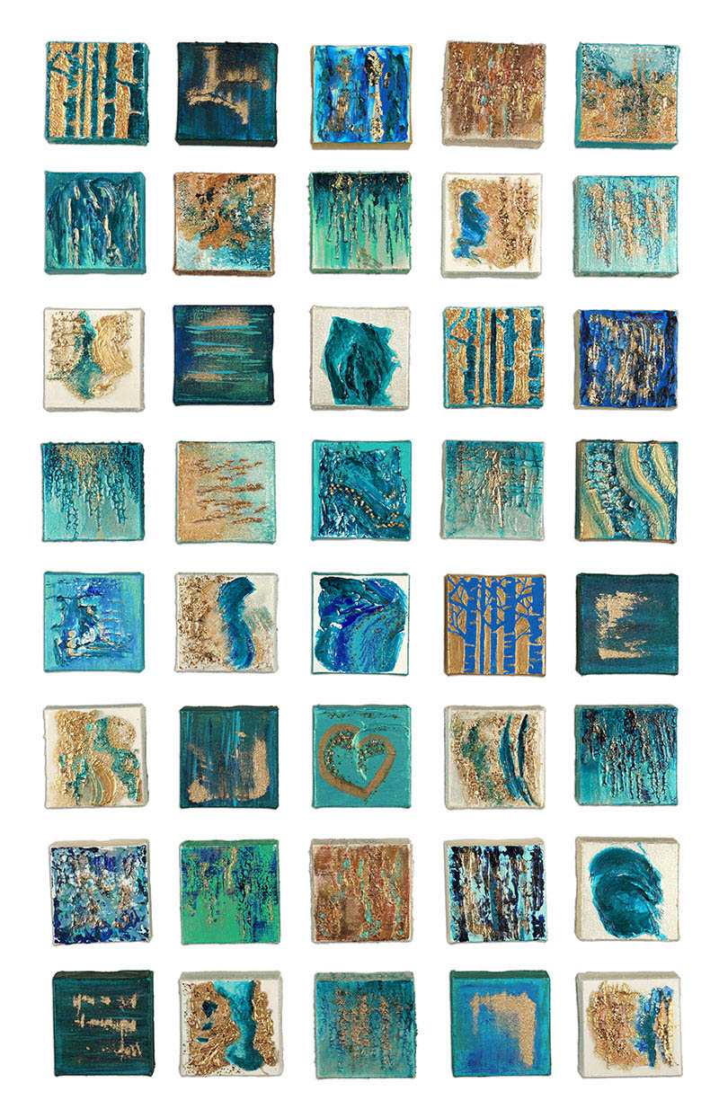 """""""The Wedding Collection - 1"""" 4""""x4"""" Textured Canvases mounted on wooden canvas"""