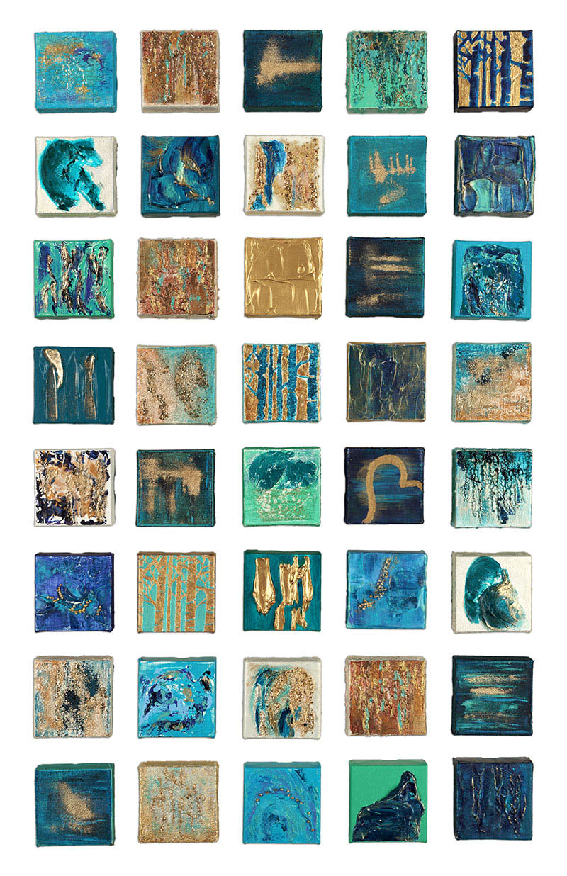 """""""The Wedding Collection - 2"""" 4""""x4"""" Textured Canvases mounted on wooden canvas"""