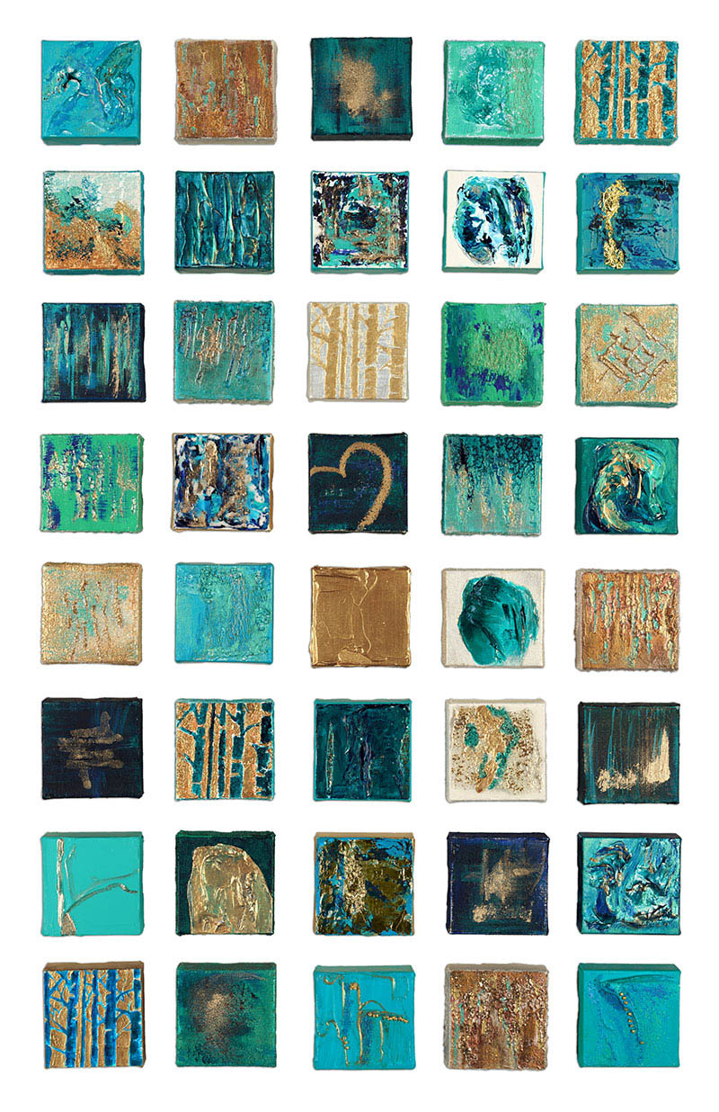 """""""The Wedding Collection - 3"""" 4""""x4"""" Textured Canvases mounted on wooden canvas"""